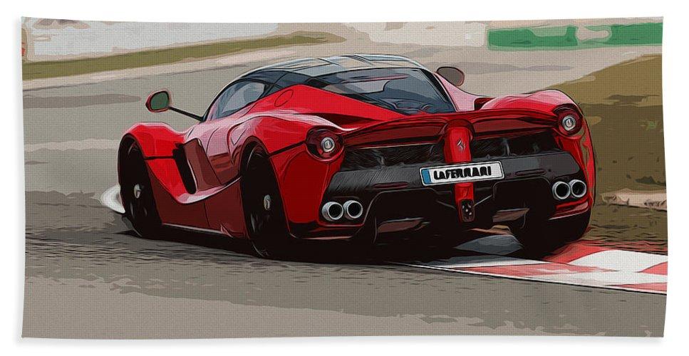 Laferrari Hand Towel featuring the painting La Ferrari - Rear View by Andrea Mazzocchetti