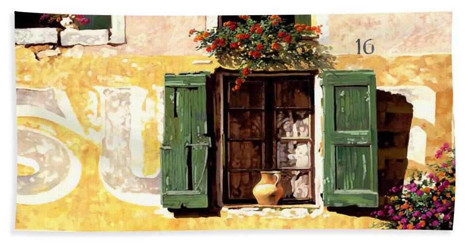 Wallscape Bath Sheet featuring the painting la finestra di Sue by Guido Borelli