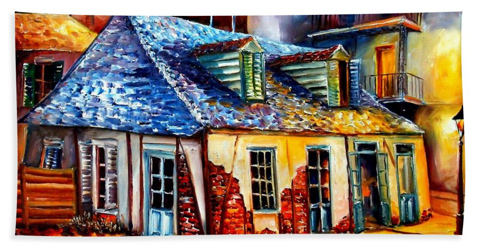 New Orleans Hand Towel featuring the painting La Fittes Blacksmith Shop by Diane Millsap