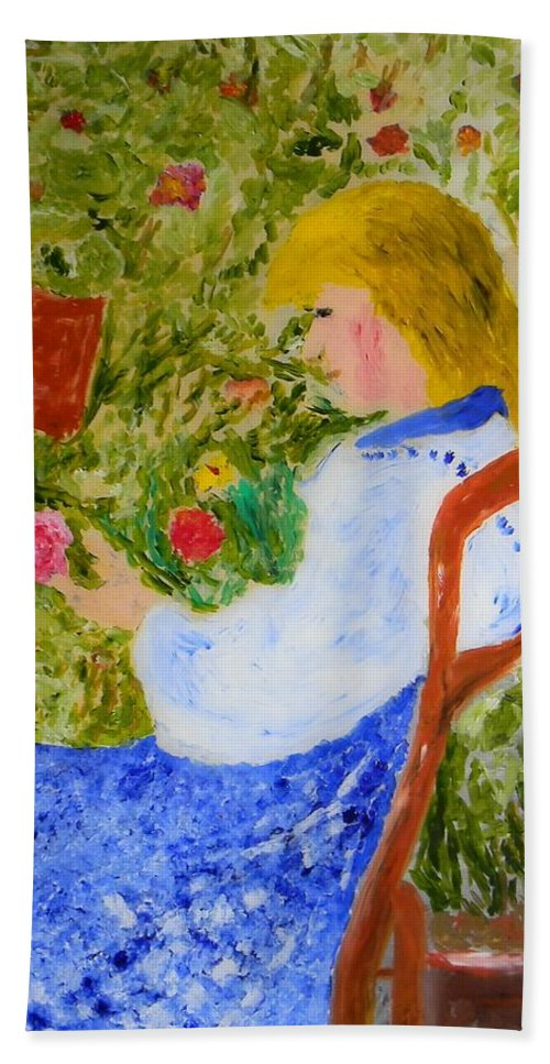 Painting Hand Towel featuring the painting La Fleuriste by Silvio Trentini