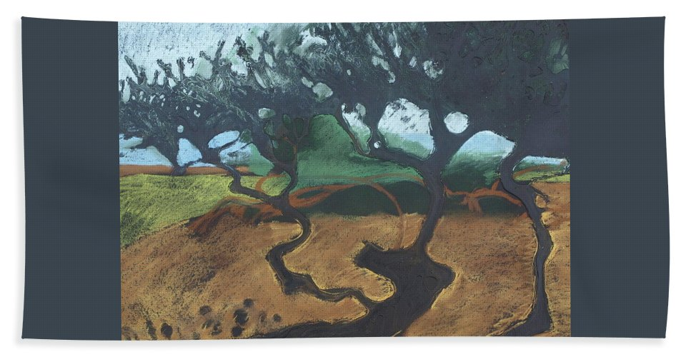 Contemporary Tree Landscape Hand Towel featuring the drawing La Jolla I by Leah Tomaino