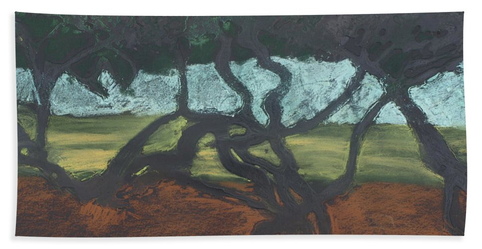 Contemporary Tree Landscape Hand Towel featuring the mixed media La Jolla II by Leah Tomaino