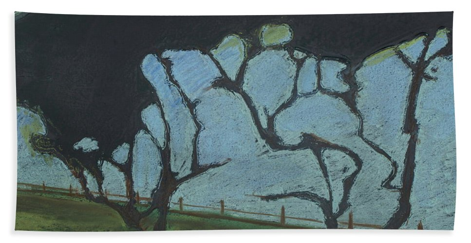 Contemporary Tree Landscape Hand Towel featuring the mixed media La Jolla IIi by Leah Tomaino