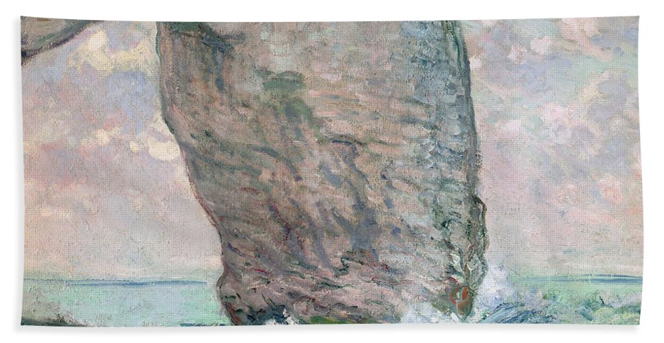 Arch; Cliff; Sea; Impressionist; Coast; Coastal; Waves; Breakers; Limestone; Normandy Hand Towel featuring the painting La Manneporte A Etretat by Claude Monet