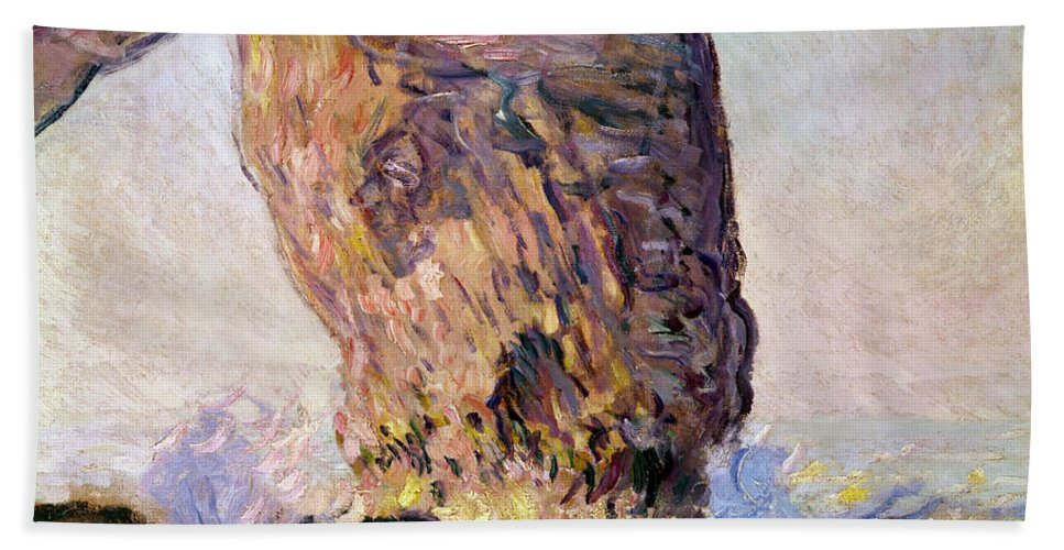 Impressionist; Normandy Coast; Coastal; Arch; Waves; Breakers; Falaise Bath Towel featuring the painting La Manneporte by Claude Monet