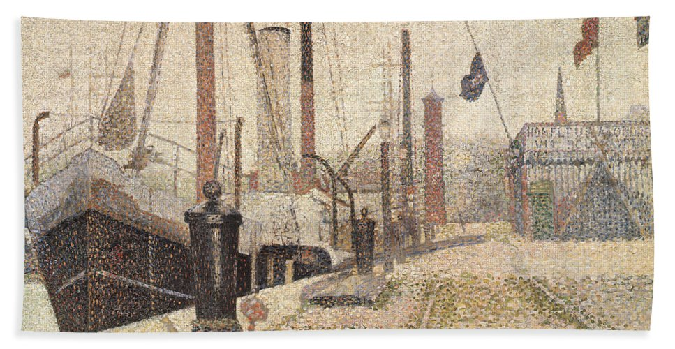 La Maria At Honfleur Hand Towel featuring the painting La Maria At Honfleur by Georges Pierre Seurat