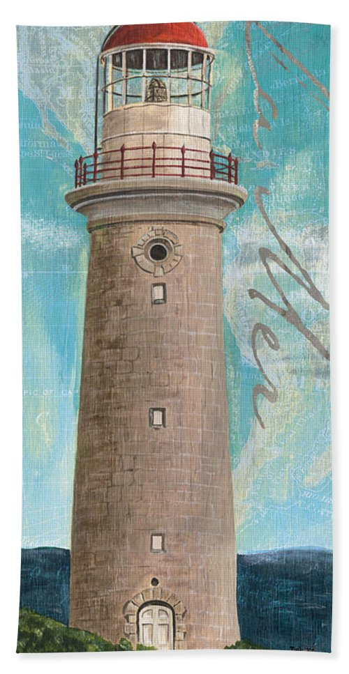 Lighthouse Bath Towel featuring the painting La Mer Lighthouse by Debbie DeWitt