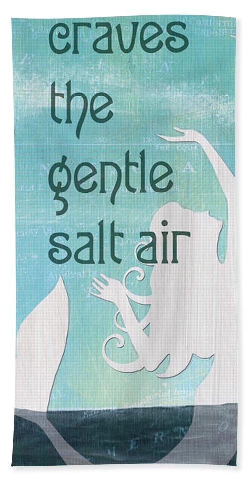 Mermaid Bath Towel featuring the painting La Mer Mermaid 2 by Debbie DeWitt