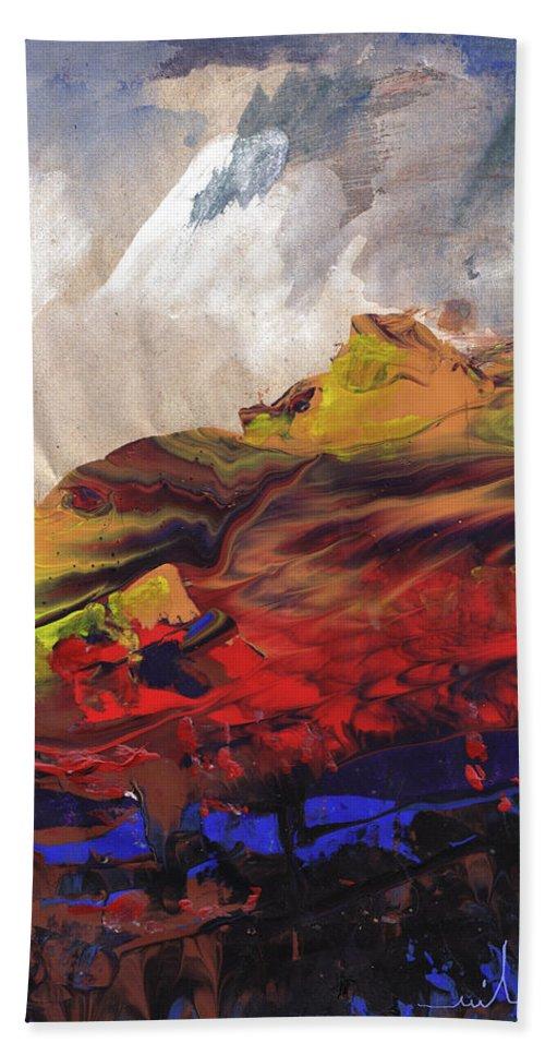 Landscapes Bath Towel featuring the painting La Mer Rouge by Miki De Goodaboom