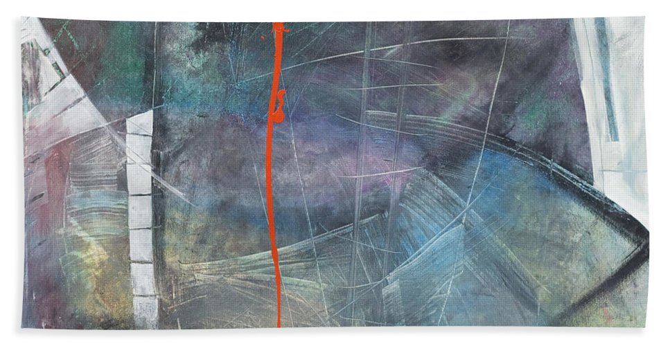 Abstract Bath Sheet featuring the painting La Mort Au Cirque by Tim Nyberg