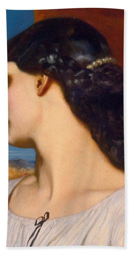 Frederic Leighton Hand Towel featuring the painting La Nanna. Sunny Hours by Frederic Leighton