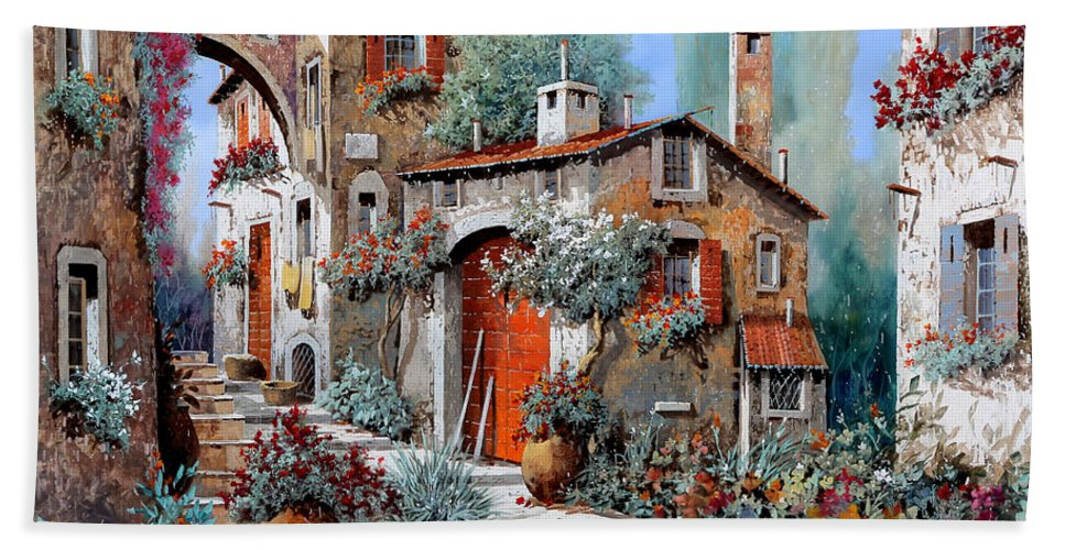 Red Door Hand Towel featuring the painting La Porta Rossa by Guido Borelli
