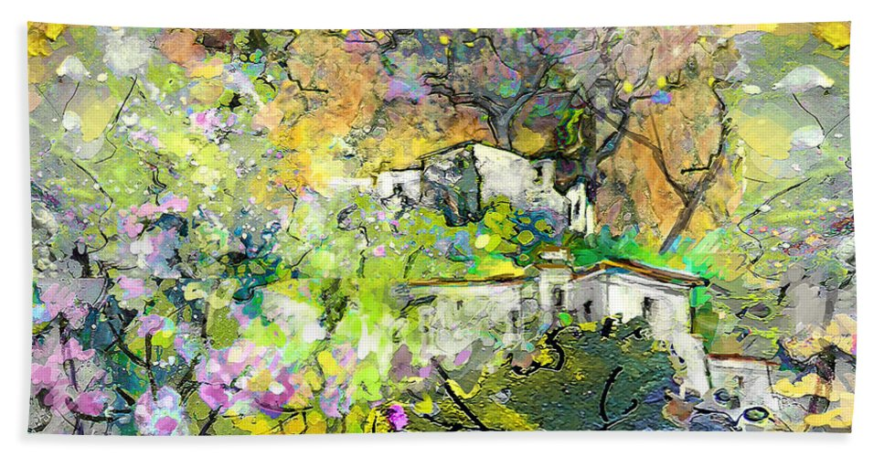 Landscape Painting Bath Sheet featuring the painting La Provence 07 by Miki De Goodaboom