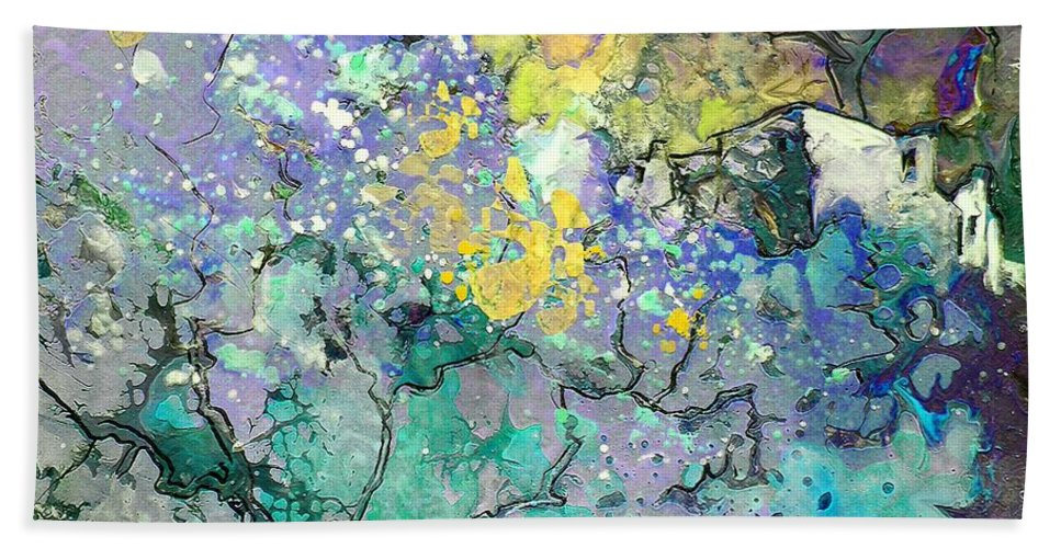Landscape Painting Bath Sheet featuring the painting La Provence 08 by Miki De Goodaboom