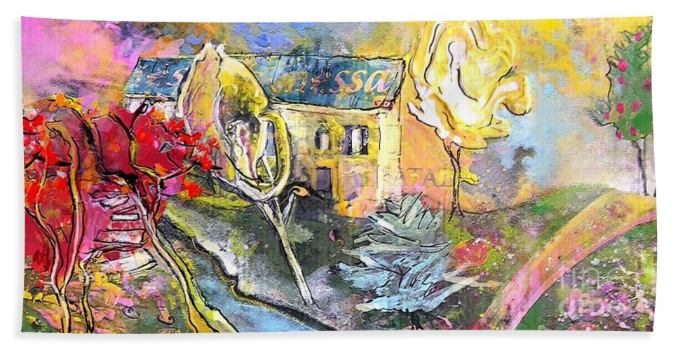 Landscape Painting Bath Sheet featuring the painting La Provence 11 by Miki De Goodaboom