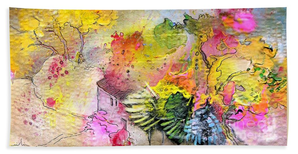 Landscape Painting Bath Sheet featuring the painting La Provence 12 by Miki De Goodaboom