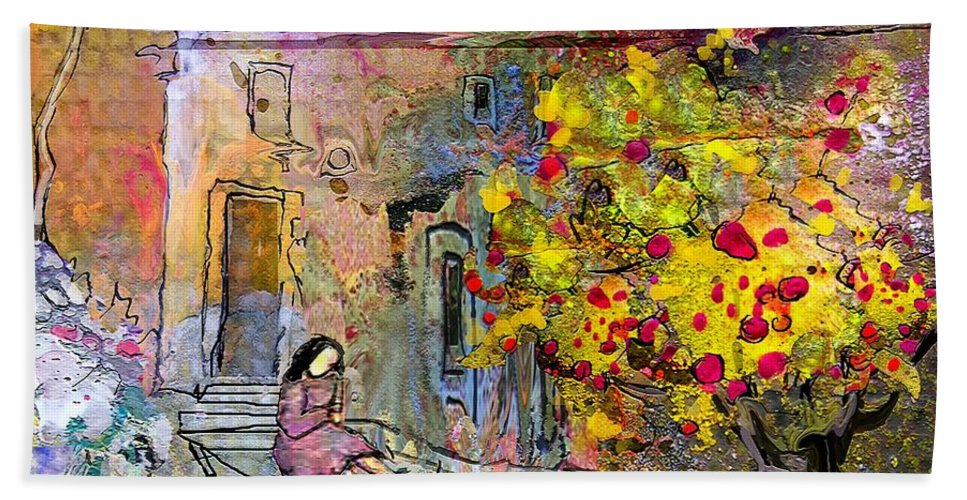 Landscape Painting Bath Sheet featuring the painting La Provence 13 by Miki De Goodaboom