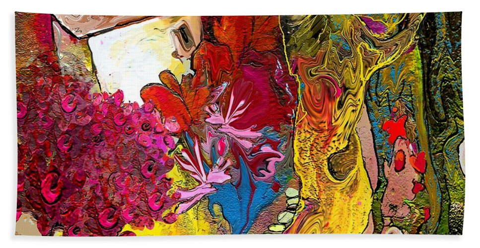 Landscape Painting Hand Towel featuring the painting La Provence 15 by Miki De Goodaboom