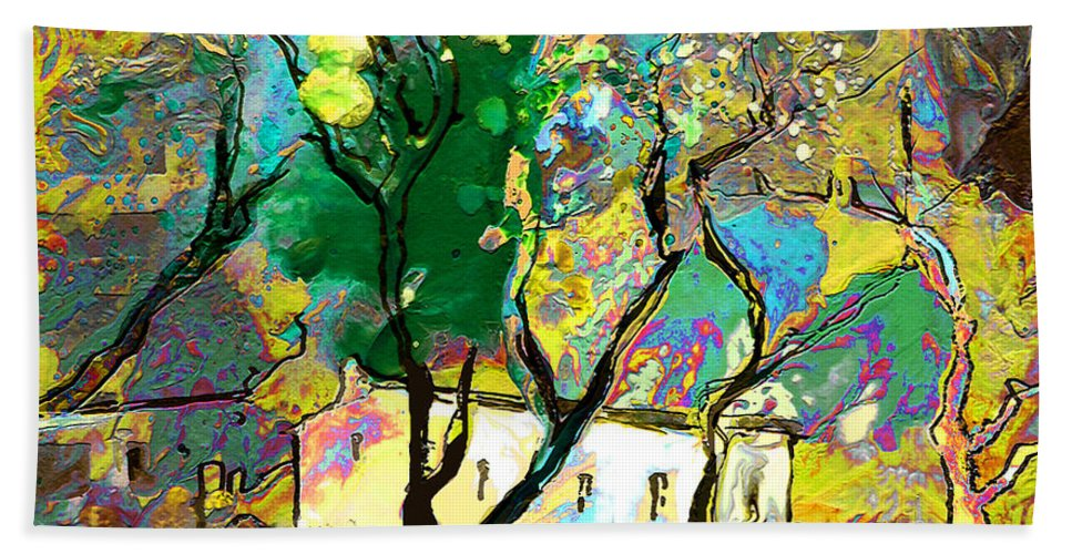 Miki Bath Towel featuring the painting La Provence 16 by Miki De Goodaboom