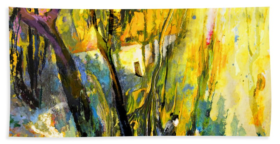 Acrylics Hand Towel featuring the painting La Provence 21 by Miki De Goodaboom