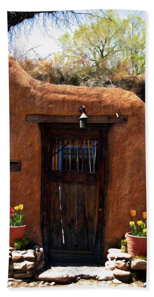 Door Bath Towel featuring the photograph La Puerta Marron Vieja - The Old Brown Door by Kurt Van Wagner