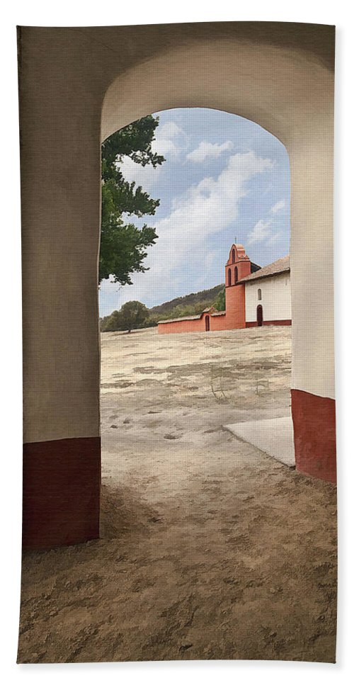 Mission Bath Sheet featuring the digital art La Purisima Arch by Sharon Foster