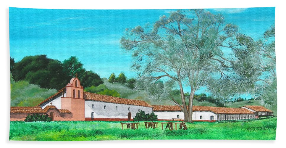 La Purisima Hand Towel featuring the painting La Purisima Mission by Angie Hamlin
