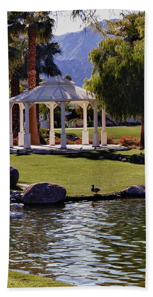 Rocks Bath Sheet featuring the photograph La Quinta Park Lake And Gazebo by Linda Dunn