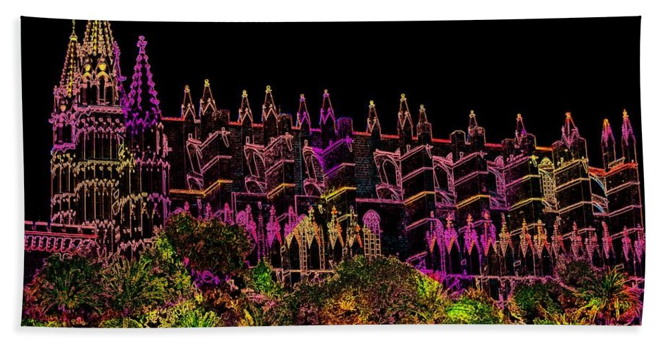 La Seu Bath Sheet featuring the digital art La Seu The Cathedral Of Palma by Helmut Rottler
