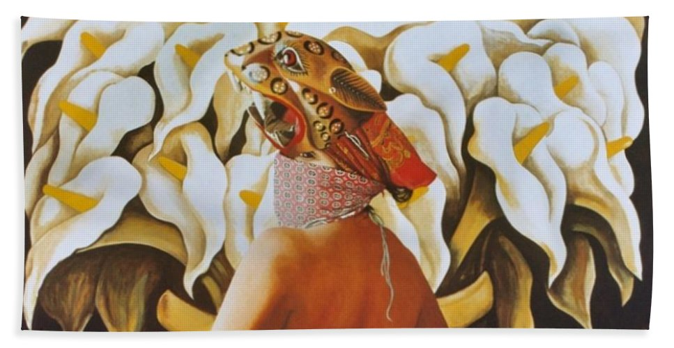Hyperrealism Hand Towel featuring the painting La Tigresa by Michael Earney