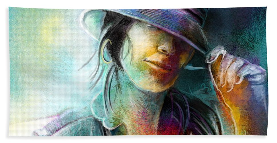 Portrait Hand Towel featuring the painting La Tombeuse by Miki De Goodaboom