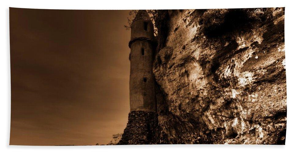 La Tour Hand Towel featuring the photograph La Tour Darkly by Richard Omura