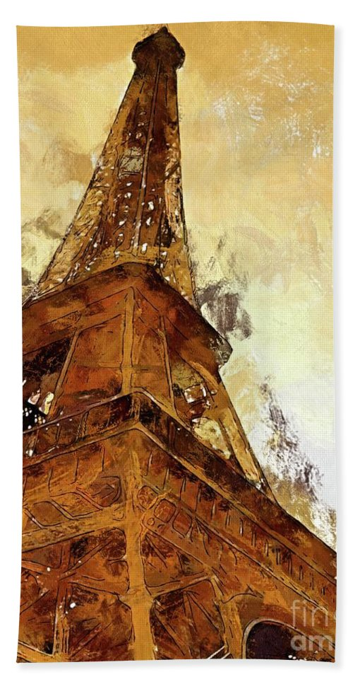 Digital Art Hand Towel featuring the digital art La Tour Eiffel by Dragica Micki Fortuna