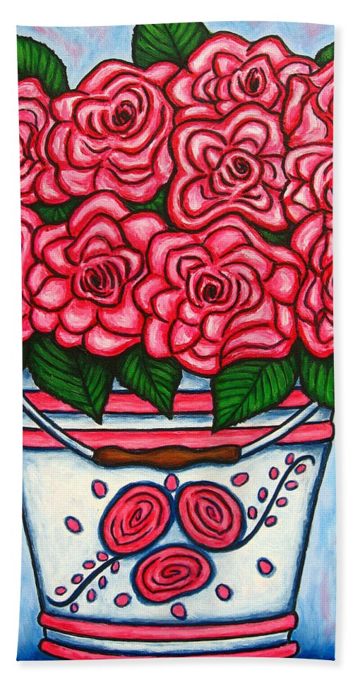 Rose Bath Sheet featuring the painting La Vie En Rose by Lisa Lorenz