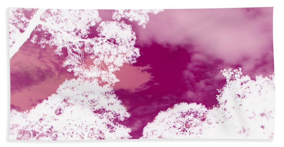 Pink Sky Bath Sheet featuring the photograph La Vie En Rose by Roxy Riou