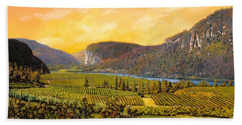 Wine Bath Sheet featuring the painting La Vigna Sul Fiume by Guido Borelli