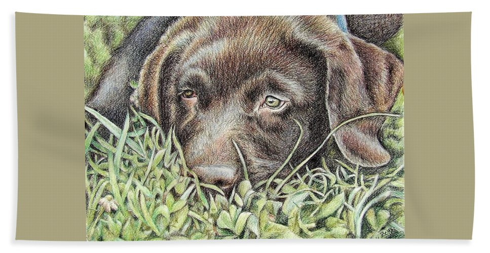 Dog Hand Towel featuring the pastel Labrador Puppy by Nicole Zeug