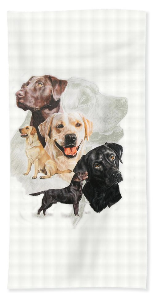 Sporting Group Hand Towel featuring the mixed media Labrador Retriever W/ghost by Barbara Keith