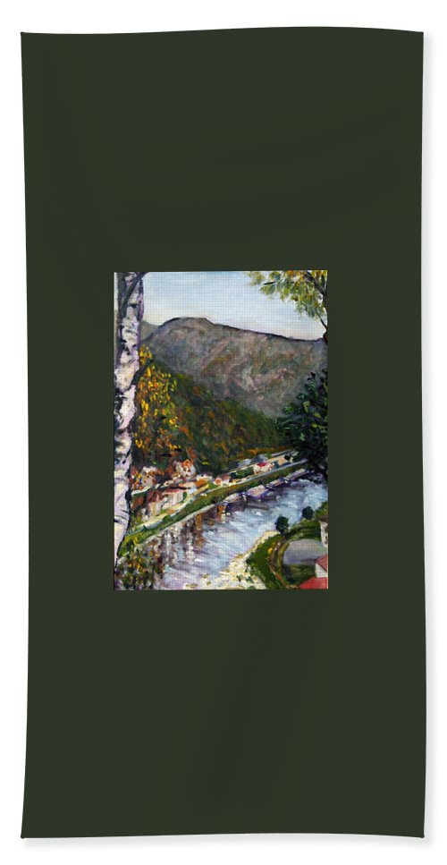 Landscape Hand Towel featuring the painting Labske Udoli by Pablo de Choros