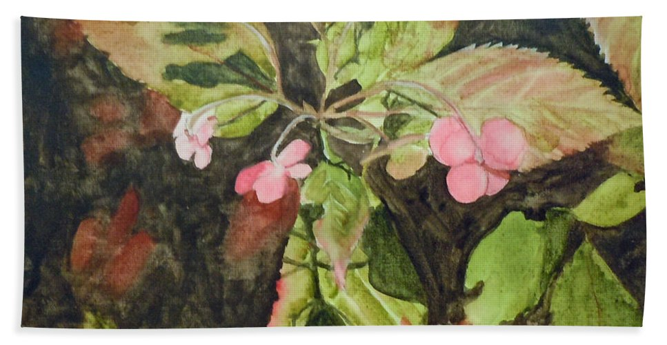 Flowers Hand Towel featuring the painting Lace Cap 1 by Jean Blackmer