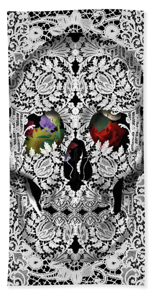 Skull Hand Towel featuring the painting Lace Skull White by Bekim M