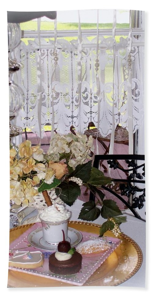 Bath Sheet featuring the photograph Lacey Curtain And Pastry by Jacqueline Manos