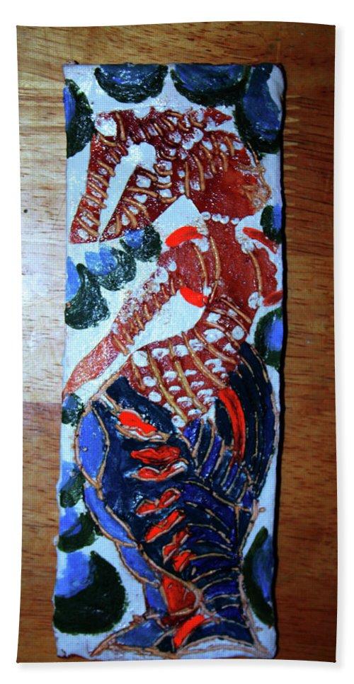 Jesus Elohimplaquesmamamama Africa Twojesus Bath Sheet featuring the ceramic art Ladies Await 9 by Gloria Ssali