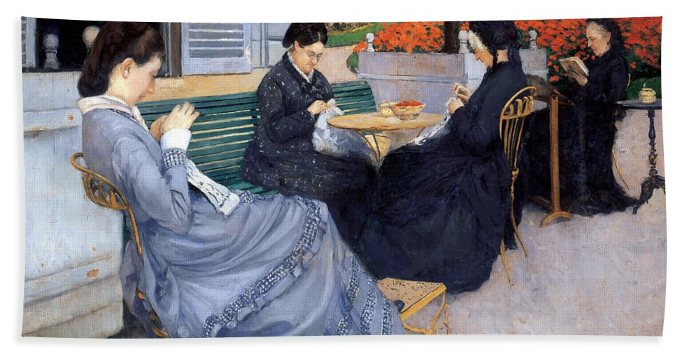Gustave Caillebotte Bath Towel featuring the painting Ladies Sewing by Gustave Caillebotte