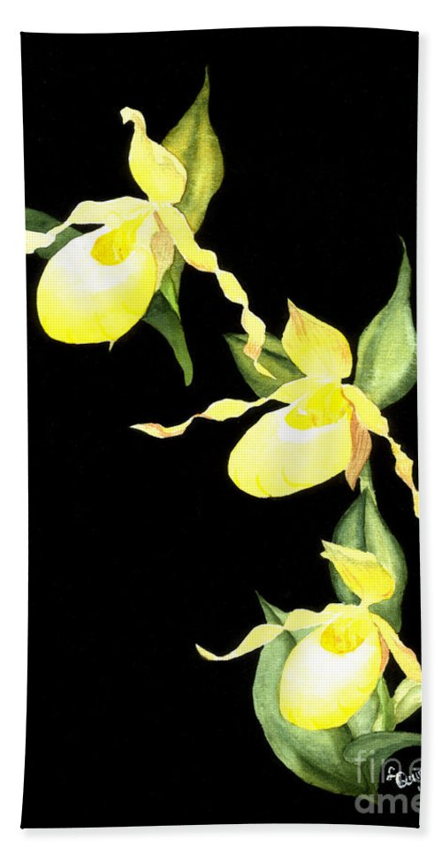 Yellow Lady S Slipper Hand Towel featuring the painting Ladies Trio by Lynn Quinn