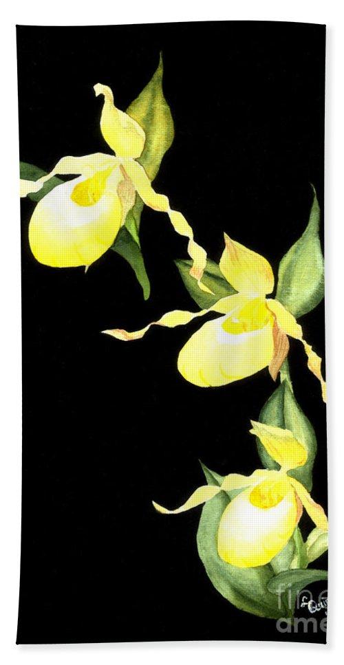 Yellow Lady S Slipper Bath Towel featuring the painting Ladies Trio by Lynn Quinn