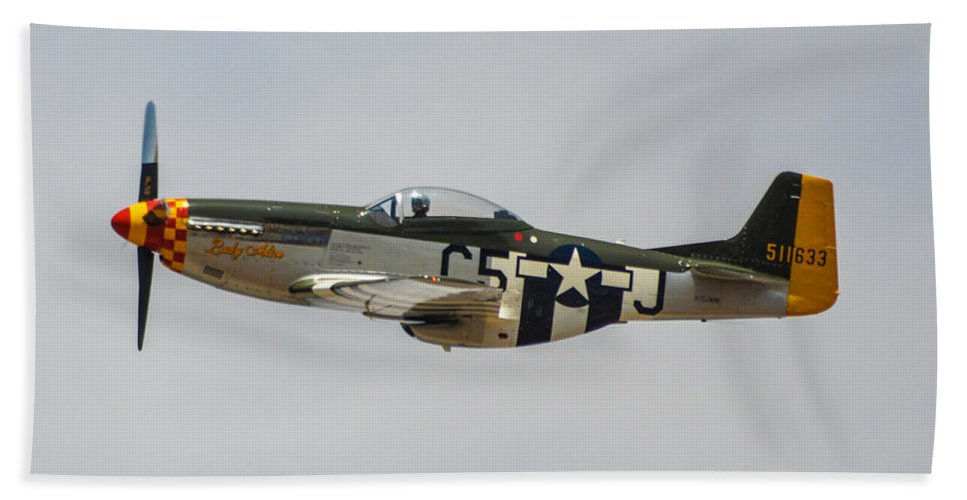 North American P-51d Mustang Bath Sheet featuring the photograph Lady Alice 1 by Tommy Anderson