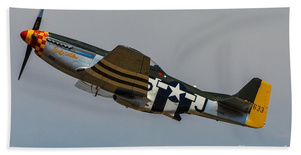 North American P-51d Mustang Bath Sheet featuring the photograph Lady Alice 3 by Tommy Anderson