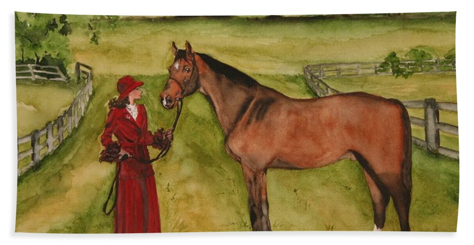 Horse Bath Sheet featuring the painting Lady And Horse by Jean Blackmer