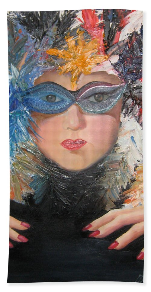 A Face With A Venetian Mask With Feathers And Hands On The Sides Bath Sheet featuring the painting Lady At A Carvinal by Maria Kobalyan